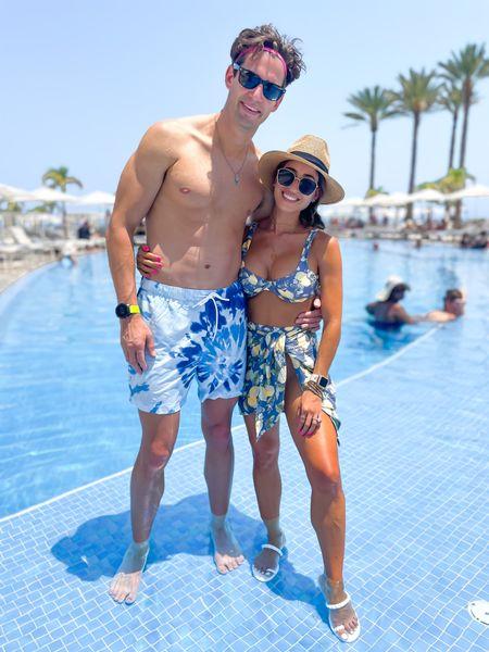 Lemon print bikini in Xs bottoms and m top sarong matching ON SALE men's swim trunks on sale  http://liketk.it/3hqyV  #liketkit @liketoknow.it #LTKDay #LTKswim #LTKunder100