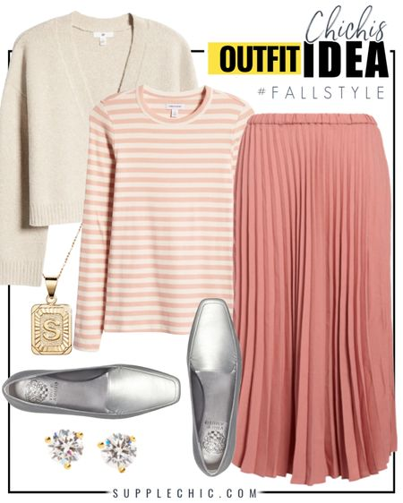 Wear this tomorrow! Chic Fall Outfit perfect to for Work or to work from home featuring striped longsleeve tees, cropped cardigan, pleated miniskirt, square toed flat, initial pendant necklace  #LTKunder100 #LTKcurves #LTKworkwear