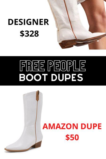 Free people boots dupes! White cowboy boots!    #LTKsalealert #LTKshoecrush #LTKHoliday