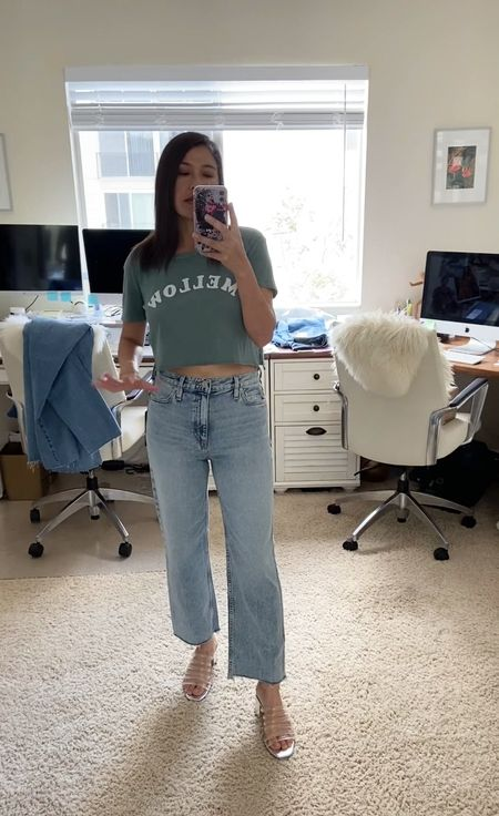 Crop straight leg Jean by Hudson. Crop wide leg. Fits true to size and holds in the belly. A more structure denim, less stretch.  #LTKtravel #LTKSeasonal #LTKstyletip