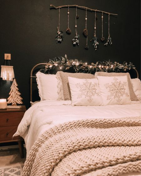'Tis then season to be cozy!!!! 😍  My husband tilted his head a little crooked when I loaded up two large sticks in his trunk a few weeks ago! He didn't ask questions but I had a vision!!!! Last year I loved, loved, LOVED adding a touch of Christmas to the bedroom so this year I kicked it up a notch and came up with a fun above the bed statement piece! FOR FREE!! 🙌🏼  Any other stick hunters here with me in the group?!? Say hi if so!! 👋 #holidaystickdecor    #liketkit @liketoknow.it http://liketk.it/33DAp
