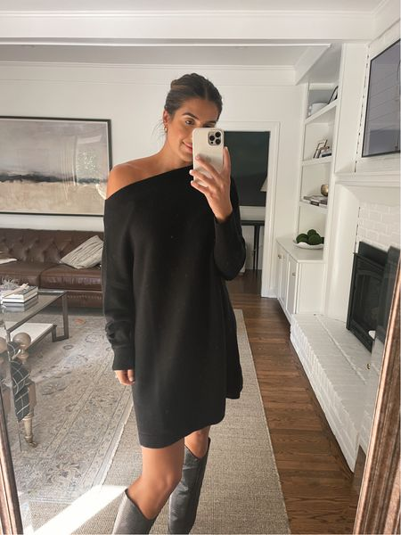 Amazon sweater dress under $35, medium, and my fall boots are on sale for the shopbop style event!   #LTKsalealert #LTKSeasonal