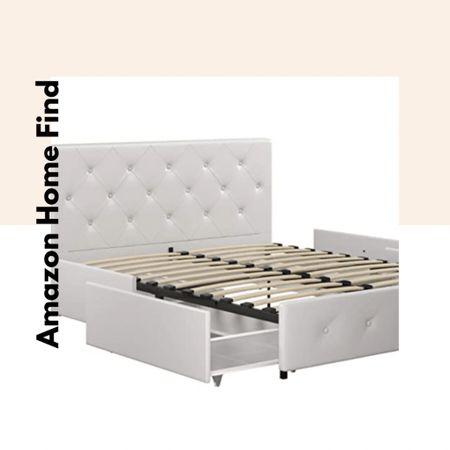 Amazon home find: upholstered platform bed with drawers   #LTKhome #StayHomeWithLTK #LTKsalealert