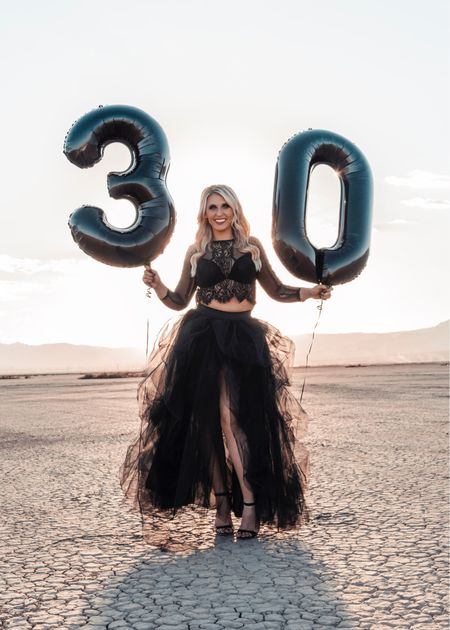 Thirtieth birthday photo shoot outfit idea! Funeral for my 20s goth glam edition! Linked my tule puffy skirt and lace crop top! Also linked balloon options and my makeup! #competition    #LTKSeasonal #LTKstyletip #LTKwedding