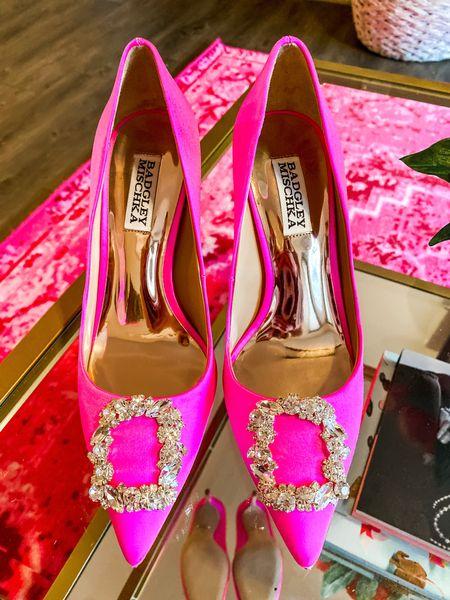 Badgley Mischka pink Cher embellished heels are 25% off! Run BIG.. I sized down to a 6 and I'm normally a 7!!   #LTKHoliday #LTKSeasonal #LTKsalealert