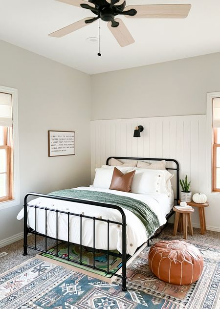 Modern transitional guest bedroom. Neutrals with pops of color.    #LTKhome