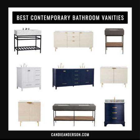 Best contemporary bathroom vanities! Single sink bathroom vanity. Blue bathroom vanity. Concrete top bathroom vanity. Marble bathroom vanity. Double sink bathroom vanity.   #LTKhome