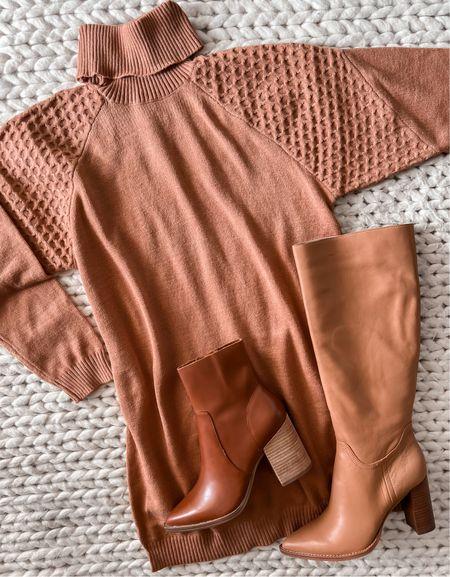 Sweater dress, under $100 sweater dress, tan boots, knee high boots, booties, fall outfit  #LTKsalealert #LTKunder100 #LTKshoecrush