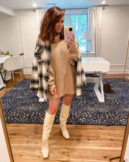 Sweater (M) Boots TTS Shirt jacket (M) Nsale, fall outfit, knee high boots, shacket  @liketoknow.it http://liketk.it/3jUe6 #liketkit #LTKstyletip #LTKsalealert #LTKshoecrush