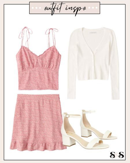 Love this matching set! So gorgeous😍 Comes in other color options too. #abercrombie #matchingset #summerfashion #summeroutfits #weddingguest #weddingguestoutfit #heels #beachvacation #vacationoutfit #skirt  #LTKshoecrush #LTKDay #LTKunder100