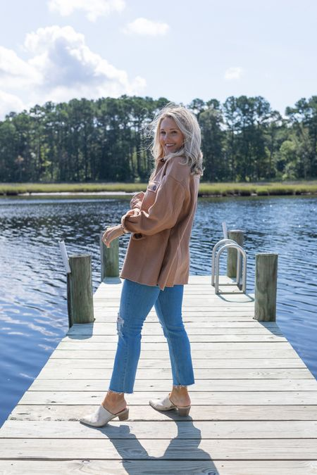 my favorite jeans of all time!!! tts straight leg distressed jeans brown shacket Wool shacket Casual fall outfit Clint pony mules Neutral outfit outfit inspo Apricot lane  #LTKunder50 #LTKstyletip #LTKunder100