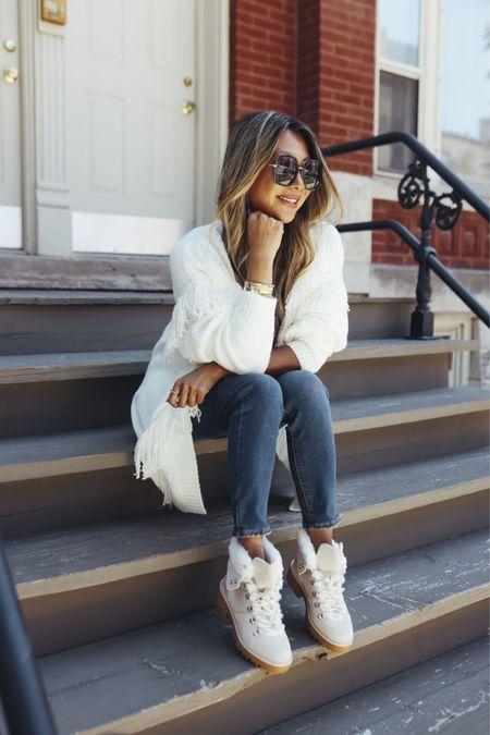 Fringe cardigan, white cardigan, white sweater, fringe sweater, Sherpa hiking boots, cute hiking boots, fall style, fall outfits, fall outfit ideas, Walmart style, affordable fall style   @walmart @walmartfashion #ad #walmartfashion  #LTKSeasonal #LTKunder100 #LTKstyletip