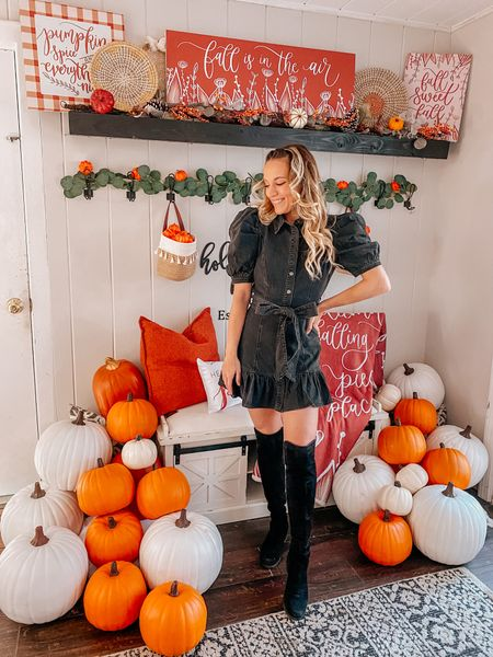 Fall is certainly in the air today in Rhode Island! ❤️🍂 I'm not sure about where you are, but we had a chilly fall day today! 🧡  I can't even believe I'm saying this, but I only have a couple more weeks before I switch over the decor from fall to Christmas! 😱 seriously where is the time going!  Everything here is linked in liketoknowit ❤️ my dress is from @detailedthreads but unfortunately sold out 😭  #falldecor #seasonaldecor #fallfashion #falloutfits #falldecorating #modernfarmhouse #falldecoratingideas #fallfashiontrends #fallfashion2021
