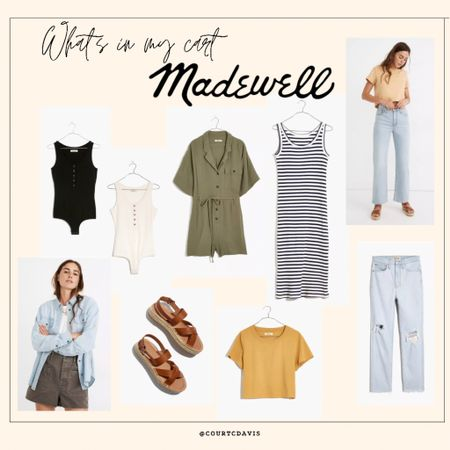 What's in my madewell cart // wide leg denim // mom jeans // espadrille sandals // chambray work shirt // crop top // olive green jumpsuit // Henley bodysuit // ribbed tank dress  #LTKstyletip #LTKunder100 #LTKDay