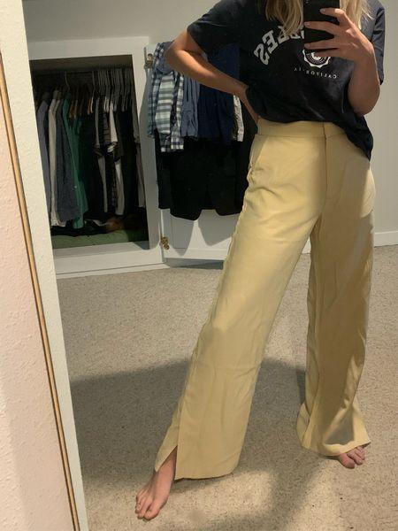 Yellow high waisted pants from H&M   #LTKunder50 #LTKSeasonal #LTKworkwear