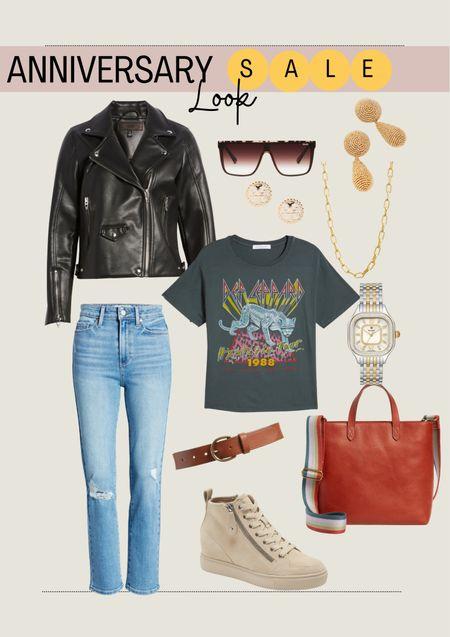 Nordstrom Anniversary Sale. Fall outfit. Fall look. Mom jeans. Moto jacket.   #LTKsalealert #LTKcurves #LTKstyletip