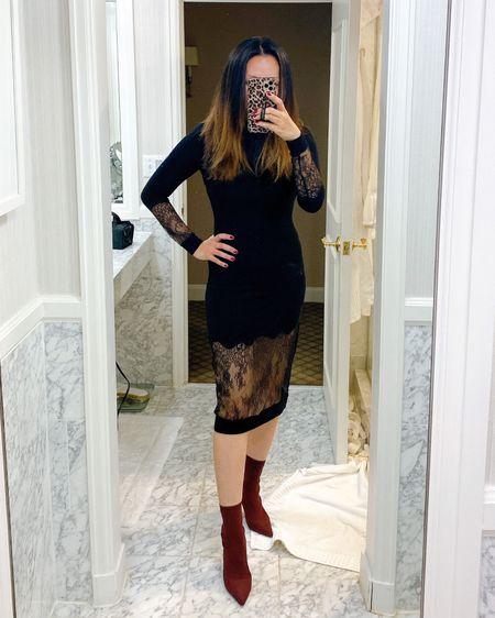 black lace sheath dress and maroon sock boots for date night http://liketk.it/2WMyy #liketkit @liketoknow.it #LTKstyletip #LTKshoecrush