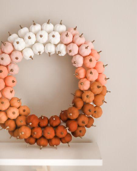 Mini pumpkins painted with acrylic paints and glued to a foam wreath! http://liketk.it/2WOJt #liketkit @liketoknow.it