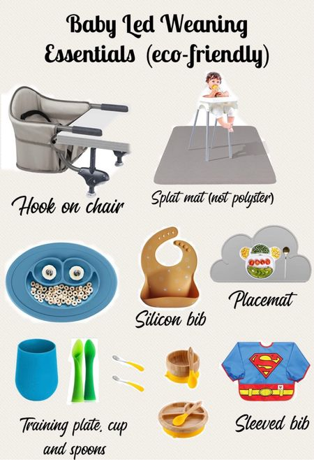 Baby led weaning essentials I bought, silicon ezpz plate and cups, avanchy wooden bowl and plate, mushie silicon bib, chicoo hook on chair for feeding babies, super mam bib, silicon place mat   #LTKfamily #LTKkids #LTKbaby