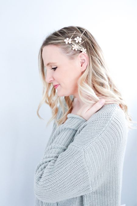 Spring outfit idea. Flower hair pins are a fav spring accessory for me.   #LTKwedding #LTKSeasonal #LTKSpringSale