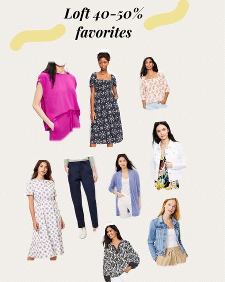 http://liketk.it/3gzbG #liketkit @liketoknow.it #LTKunder50 #LTKstyletip #LTKsalealert loft 40-50% sale favorites, Memorial Day sales, workwear favorites, white denim jacket, Lou and grey favorites