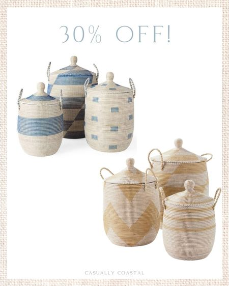 I've ever only seen these as low as 20% off, but right now the gorgeous La Jolla baskets from Serena & Lily are 30% off! So if you've been contemplating, now is the time to scoop them up! - rattan basket decor, basket with lid, basket with top, basket with cover, woven baskets with lid,, rattan baskets with lid, whitewashed baskets, large lidded baskets, coastal decor, beach house decor, beach decor, beach style, coastal home, coastal home decor, coastal decorating, coastal interiors, coastal house decor, home accessories decor, coastal accessories, beach style, blue and white home, blue and white decor  #LTKsalealert #LTKfamily #LTKhome