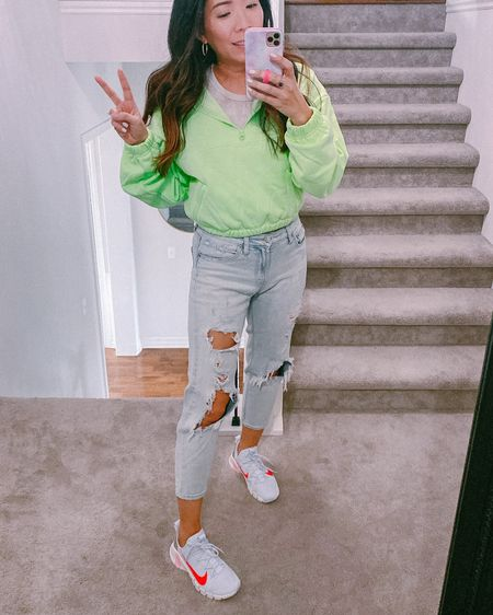 Springtime casual... loving this neon crop hoodie and the Nike Metcon 3 are so comfy! All true to size http://liketk.it/3cxGz #liketkit @liketoknow.it #LTKSpringSale #LTKfit #LTKsalealert
