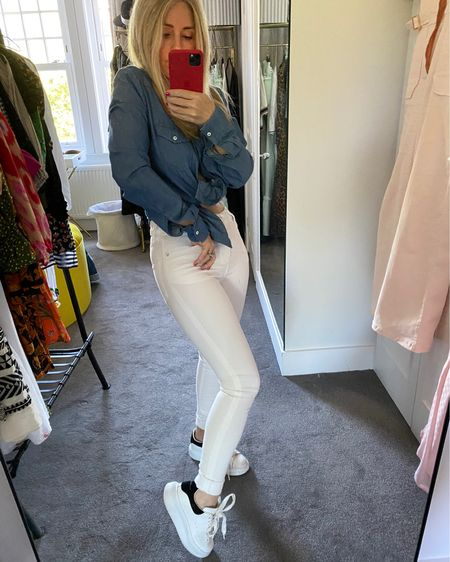 Jeans and denim shirt - both Donna Ida. My favourite way to wear the Rizzo is with trainers.  It's modern, clean and casual and always feels fresh as a Summer's day. http://liketk.it/2Tp5t #liketkit @liketoknow.it