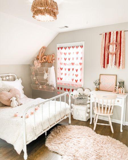 Girls Valentine's Day decor Bed Velvet comforter Wall hanging Rug Heart garland    http://liketk.it/380Ba #liketkit @liketoknow.it @liketoknow.it.home #LTKhome #LTKkids #LTKSeasonal