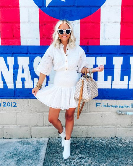 Nashville, Tennessee! White eyelet smocked dress and white ankle booties with heart sunglasses! http://liketk.it/2DTFH @liketoknow.it #liketkit #LTKtravel
