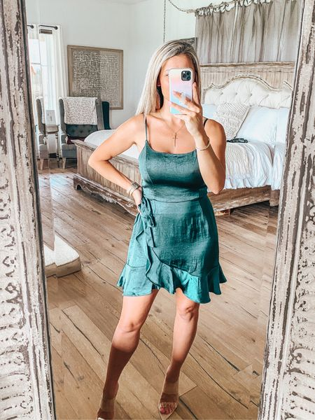 Target Wild Fable green satin dress for $30! Comes in multiple colors and soooo pretty on! Would be so pretty for a wedding guest dress!   #LTKunder50 #LTKwedding #LTKsalealert