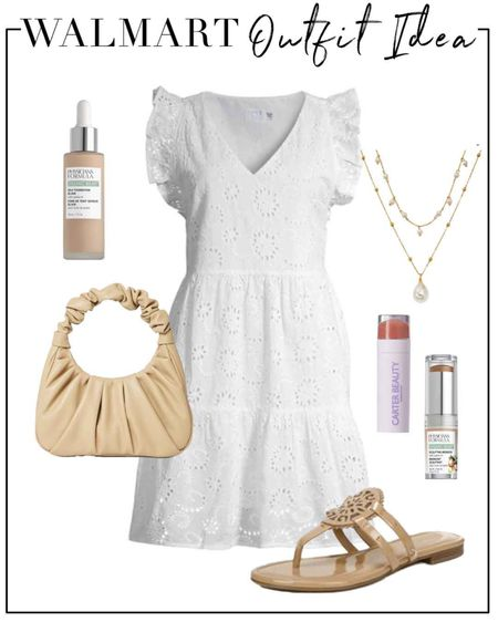 Summer outfit idea with this white eyelet dress ($16) at @walmart! #ad Paired with nude accessories, I own and love these sandals (go up 1/2 size) and I'm ordering the scrunchie bag! http://liketk.it/3jA2m #liketkit @liketoknow.it #walmartfashion #walmartbeauty