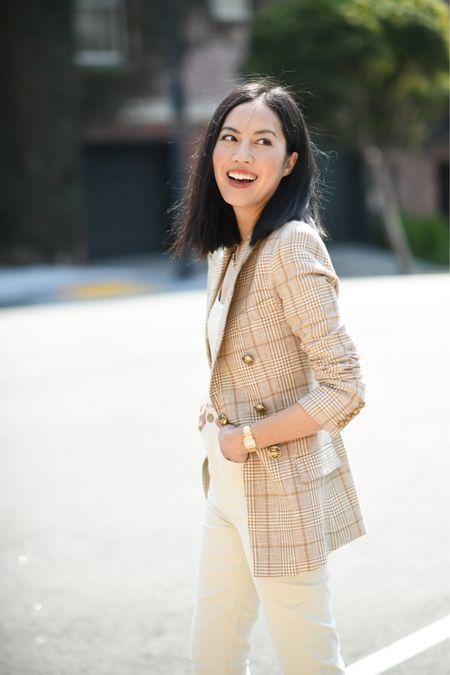 Camel plaid blazer for all seasons ❤️  #LTKstyletip #LTKworkwear #LTKSeasonal