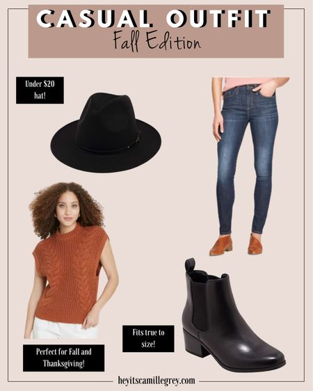 Casual Fall outfit Fall Edition All from target Black wide brim hat Orange sweater vest - perfect for fall and thanksgiving dark wash straight leg jeans Black chelsea boots, fits true to size   #LTKunder50 #LTKshoecrush #LTKSeasonal