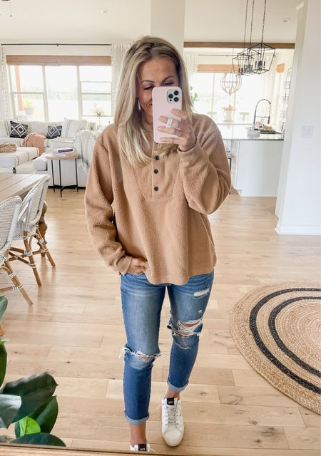 Cozy Henley top is from Walmart. Runs small—I'm wearing size XL for an oversized fit. Comes in 4 colors    #LTKstyletip #LTKSeasonal #LTKunder50