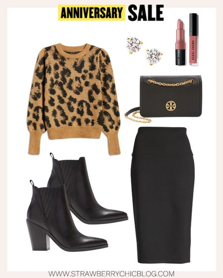 This leopard sweater is so versatile. Wear to work or casually. Love these black booties paired with the pencil skirt.   #LTKstyletip #LTKsalealert #LTKshoecrush