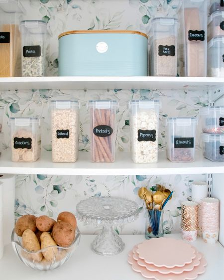Pantry reorganizing! Linked some of my favorite things. Including these containers that can go in the dishwasher 🎉  (our entire family loves them!!) The wallpaper makes me so happy every time I open the pantry door (it was only $25 and simple to install! ) also the containers are $10 off today #LTKunder50 #LTKsalealert  http://liketk.it/3dyjY #liketkit @liketoknow.it #LTKhome