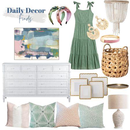 Pink, green and white preppy - love this fresh combo!    http://liketk.it/3jWVP #liketkit @liketoknow.it @liketoknow.it.home #LTKhome #LTKsalealert #LTKunder100 white dresser, pink throw pillows, green throw pillows, basket, white lamp, beaded flushmount, green dress, summer dress, headbands, raffia earrings, pink bracelet, gold frames