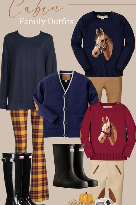 A couple outfits I'm packing for me and the kids for our cabin trip in a couple weeks! I love these colors and the horse sweaters from Hank and Henry on Amazon!   #LTKSeasonal #LTKHoliday #LTKfamily