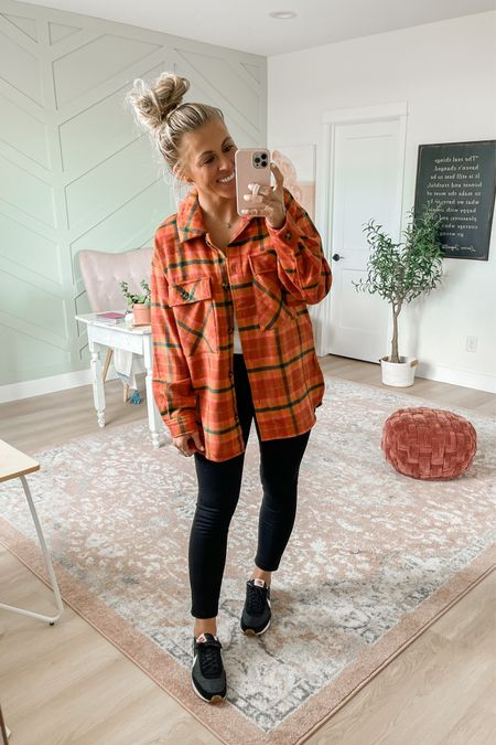 Plaid shirt jacket in rust. Wearing size medium. $32, comes in several colors.  Also wearing the perfect pant leggings from Spanx in medium. Use SARAHJOYxSPANX for 10% off and free shipping!   #LTKSeasonal #LTKsalealert #LTKunder50