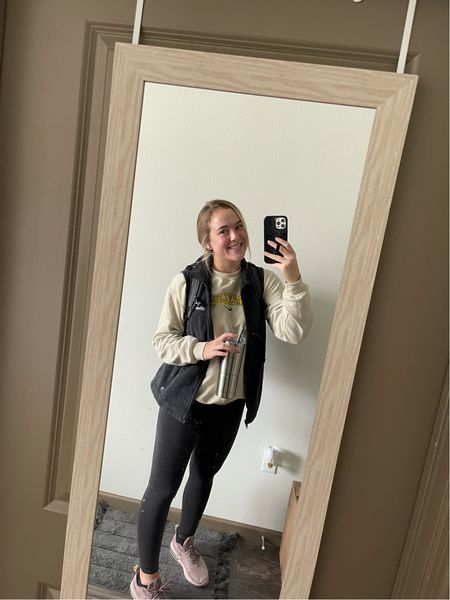 I love my Columbia vest, it is so cozy and perfect for fall days! My back pack I highly recommend because it is so sturdy and I couldn't go through college without it. My phone case is a loopy case! I have my wunder under lululemon leggings on which I am obsessed with. I am wearing a size 8. I also have on my purple Nike airmax shoes I'm a size 10! Super cute and comfy as well! #competition @shop.ltk  #LTKfit #LTKshoecrush #LTKSeasonal
