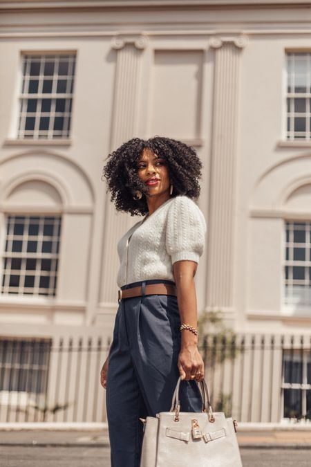 White short sleeved knit and blue high waisted wide legged trousers - great for petites.   #LTKstyletip #LTKworkwear #LTKeurope