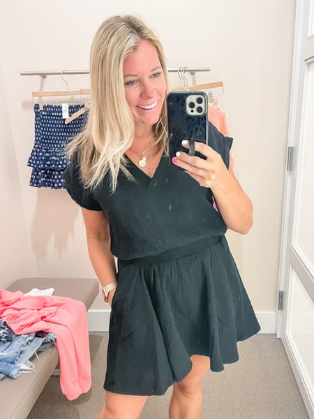 Love this black gauze short sleeve summer dress. In the size small and currently 50% off loft sale summer dress dresses beach vacation outfit idea  #LTKsalealert #LTKSeasonal #LTKunder50