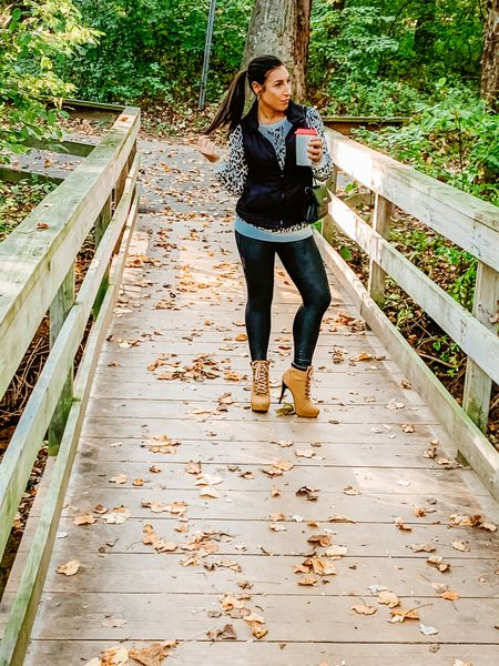 Spanx faux leather leggings/ leopard print/ timberland boots 👢   #LTKfit #LTKstyletip #LTKshoecrush