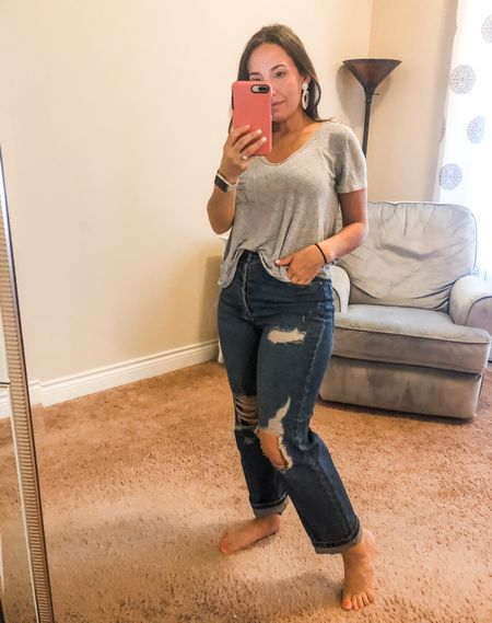 Grey t-shirt, boyfriend jeans that can double as mom jeans. They run big. Size down if you're in between sizes. #oldnavy #oldnavyjeans #jeans #petitejeans #casualoutfit #momstyle #distressedjeans   #LTKsalealert #LTKunder50