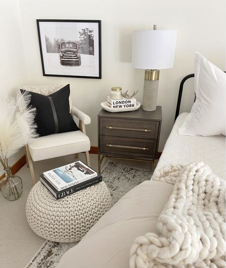 H O M E \ So many #target home finds in this bedroom corner! Pouf, throw and truck art!!👌🏻  #bedroom #bedding #bedroomdecor #bed #amazonhome #targethome #walmarthome  #LTKhome #LTKunder50
