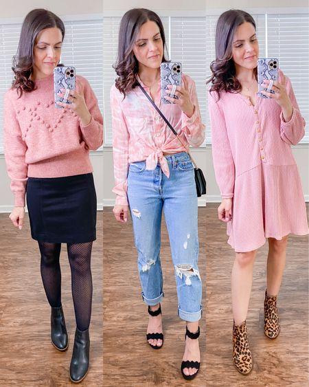Valentine's Day dressy outfit ideas! http://liketk.it/37G8w #liketkit @liketoknow.it #LTKVDay #LTKstyletip  Heart pom sweater, pink button down blouse, free people thermal knit dress (xs), black mini skirt (2), Levi's wedgie icon straight jeans (tts), black boots(tts), black strap heels, leopard boots (tts), chevron crossbody bag
