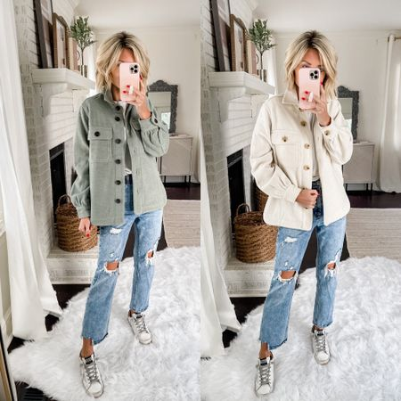 Shackets are fall favorites! Loverly Grey has paired this jacket with a distressed denim.   #LTKunder100 #LTKstyletip