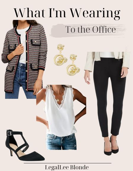 Office outfit idea! Perfect work wear to be comfortable and look professional! - wear to work - business casual - teacher style - lawyer style - women's blazer - spanx pants - button knit cardigan - skinny pants - dress pants - Kendra Scott - knot drop earrings - ankle strap pump   #LTKunder100 #LTKstyletip #LTKworkwear