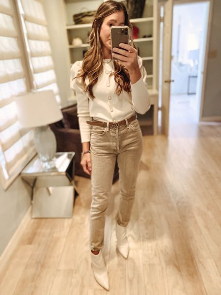 Neutral fall look with button up sweater cardigan and citizens of humanity high rise jeans   #LTKunder50 #LTKstyletip #LTKunder100